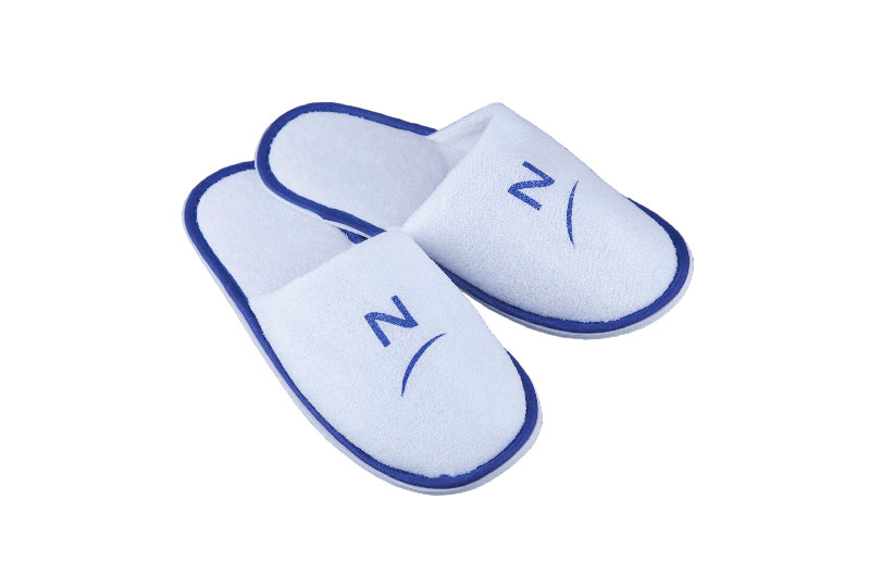 Customized Size Blue Closed Toe Hotel Slippers