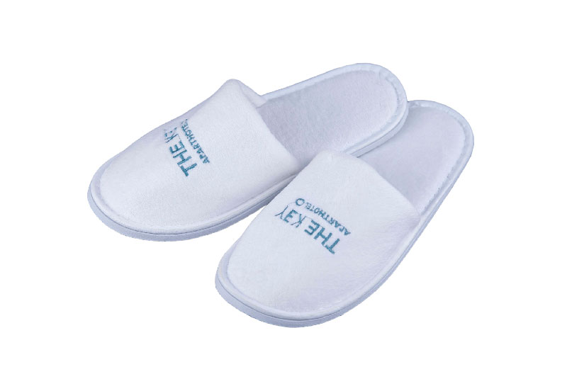 White Terry Embroidered Logo Slipper