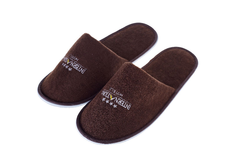 Brown Coral Fleece Hotel Disposable Slippers